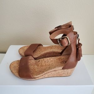 UGG Shoes - Ugg Zoe Leather Cork Wedge Ankle Strap Sandal